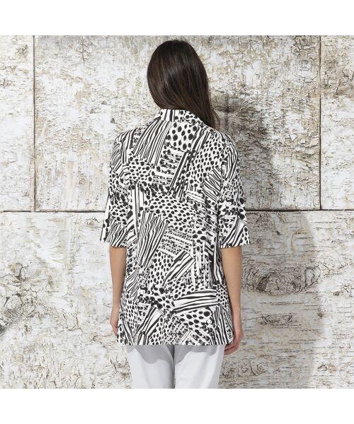 Liliane Burty / リリアンビューティ カットソー | フランス製 ライン幾何プリント 衿付きTシャツ | 詳細3
