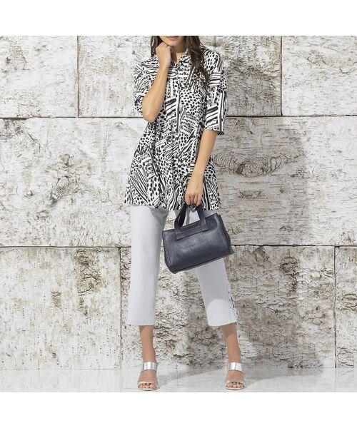 Liliane Burty / リリアンビューティ カットソー | フランス製 ライン幾何プリント 衿付きTシャツ | 詳細4