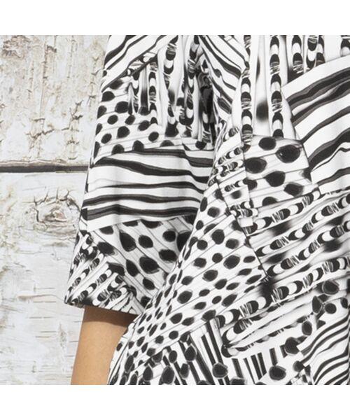 Liliane Burty / リリアンビューティ カットソー | フランス製 ライン幾何プリント 衿付きTシャツ | 詳細6