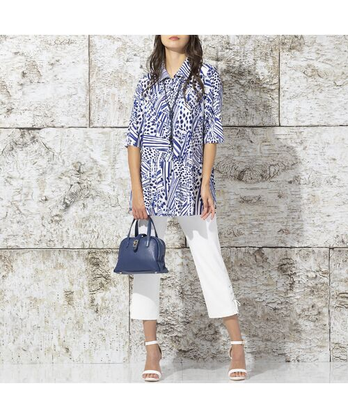 Liliane Burty / リリアンビューティ カットソー | フランス製 ライン幾何プリント 衿付きTシャツ | 詳細10