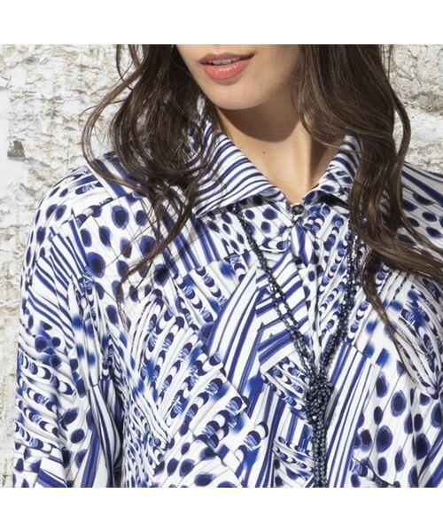 Liliane Burty / リリアンビューティ カットソー | フランス製 ライン幾何プリント 衿付きTシャツ | 詳細11