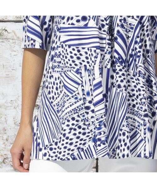 Liliane Burty / リリアンビューティ カットソー | フランス製 ライン幾何プリント 衿付きTシャツ | 詳細12