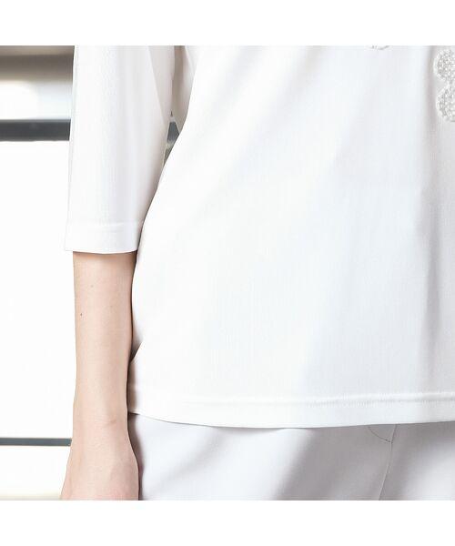 Liliane Burty / リリアンビューティ カットソー | 強撚スムース フラワー刺繍Tシャツ | 詳細4