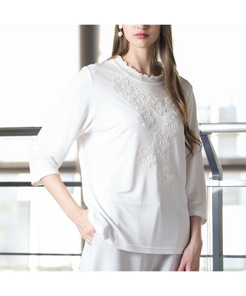 Liliane Burty / リリアンビューティ カットソー | 強撚スムース フラワー刺繍Tシャツ(ホワイト)