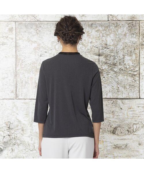 Liliane Burty / リリアンビューティ カットソー | 強撚スムース フラワー刺繍Tシャツ | 詳細8