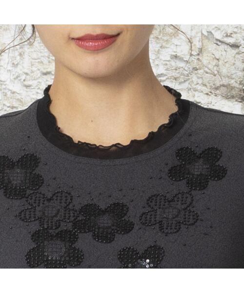 Liliane Burty / リリアンビューティ カットソー | 強撚スムース フラワー刺繍Tシャツ | 詳細10