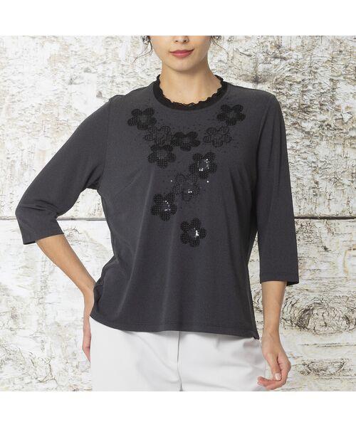 Liliane Burty / リリアンビューティ カットソー | 強撚スムース フラワー刺繍Tシャツ(グレー)