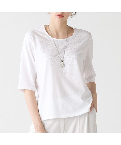 Liliane Burty / リリアンビューティ カットソー   煌めきプリント ラウンドカラーTシャツ(ホワイト)
