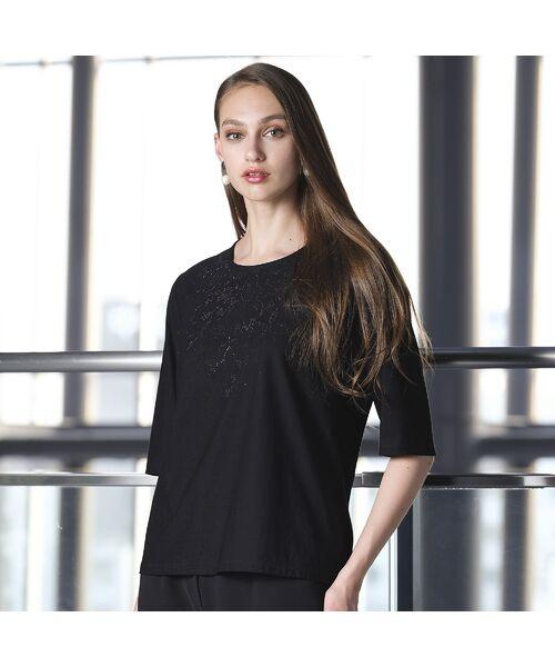 Liliane Burty / リリアンビューティ カットソー   煌めきプリント ラウンドカラーTシャツ(ブラック)