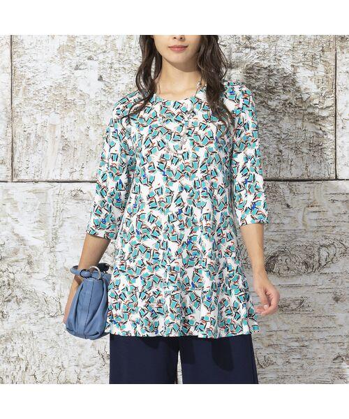 Liliane Burty / リリアンビューティ カットソー   イタリア製素材 オプティカルプリント チュニックTシャツ   詳細1