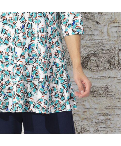 Liliane Burty / リリアンビューティ カットソー   イタリア製素材 オプティカルプリント チュニックTシャツ   詳細5