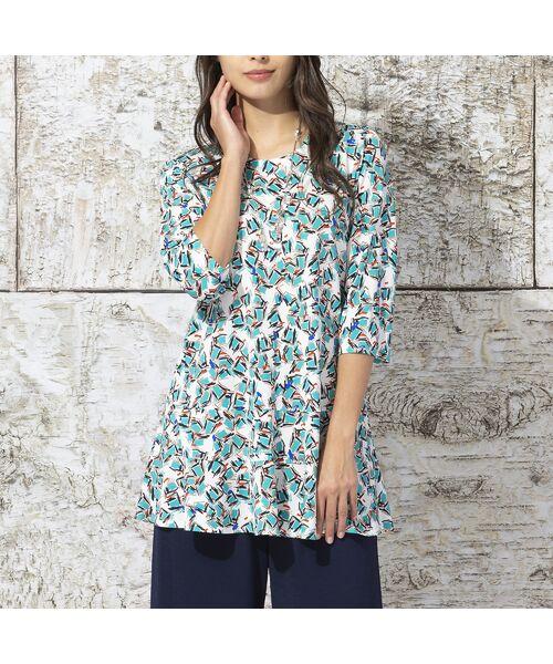 Liliane Burty / リリアンビューティ カットソー   イタリア製素材 オプティカルプリント チュニックTシャツ(ホワイト)