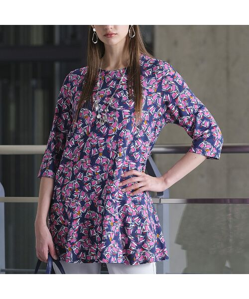 Liliane Burty / リリアンビューティ カットソー   イタリア製素材 オプティカルプリント チュニックTシャツ   詳細6