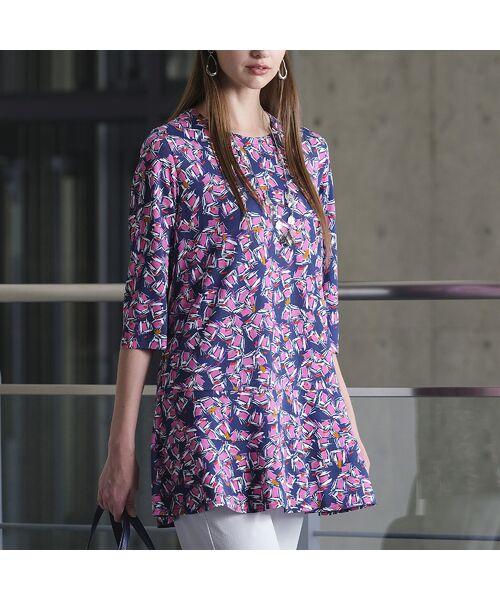 Liliane Burty / リリアンビューティ カットソー   イタリア製素材 オプティカルプリント チュニックTシャツ   詳細7