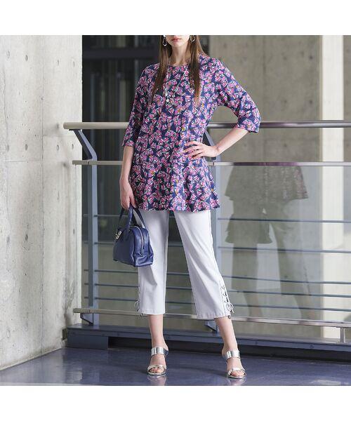 Liliane Burty / リリアンビューティ カットソー   イタリア製素材 オプティカルプリント チュニックTシャツ   詳細9
