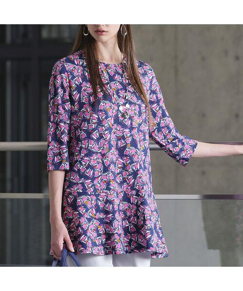 Liliane Burty / リリアンビューティ カットソー   イタリア製素材 オプティカルプリント チュニックTシャツ(ダークブルー)