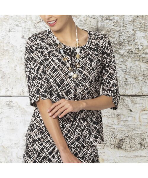 Liliane Burty / リリアンビューティ カットソー   ドットチェックプリント タックTシャツ【セットアップ可】(ブラック)