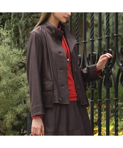 Liliane Burty(Lサイズ) / リリアンビューティ その他アウター   【Sprout.】イタリア製 箔レザープリントジャケット 〈セットアップ可〉   詳細2