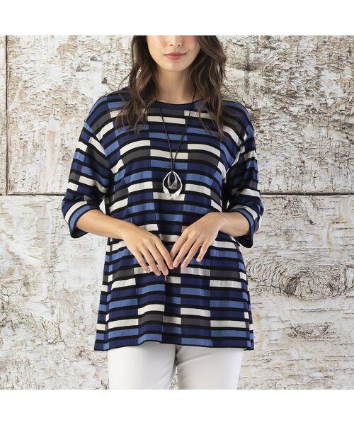 Liliane Burty / リリアンビューティ カットソー   ボーダーカラーブロック プルオーバーTシャツ   詳細1