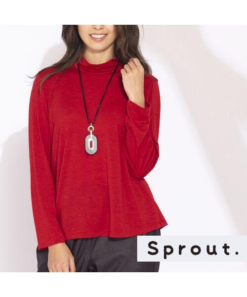 Liliane Burty(Lサイズ) / リリアンビューティ カットソー | 【Sprout.】イタリア製 ウールシルク ハイネックTシャツ(レッド)