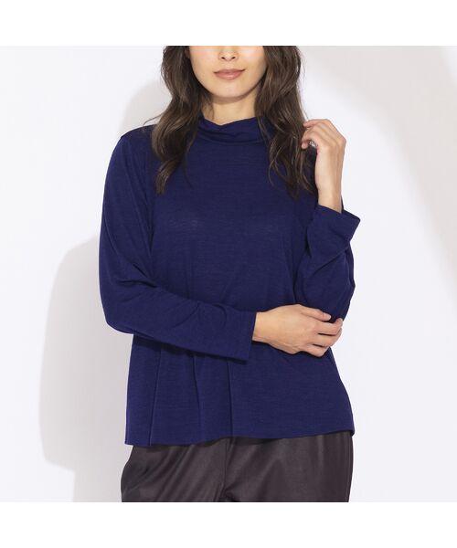 Liliane Burty(Lサイズ) / リリアンビューティ カットソー | 【Sprout.】イタリア製 ウールシルク ハイネックTシャツ(ブルー)