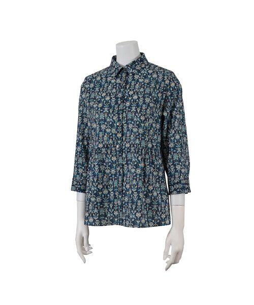 Liliane Burty ECLAT / リリアンビューティ エクラ シャツ・ブラウス | 幾何柄っぽくアレンジされたリバティプリントのシャツブラウス(ブルー)