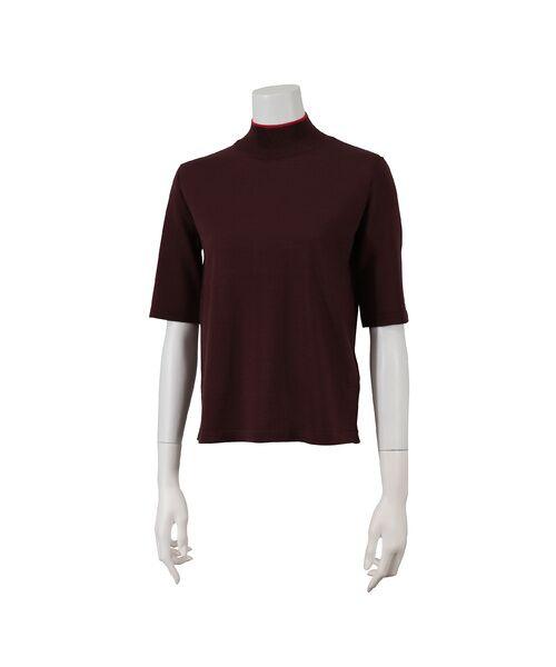 Liliane Burty ECLAT / リリアンビューティ エクラ ニット・セーター | 無地半袖セーター(ブラウン)