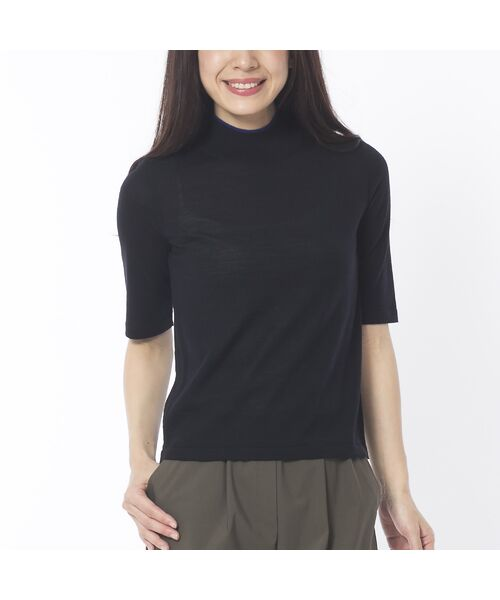 Liliane Burty ECLAT / リリアンビューティ エクラ ニット・セーター | 無地半袖セーター(ブラック)