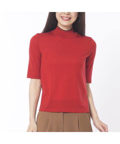 Liliane Burty ECLAT / リリアンビューティ エクラ ニット・セーター | 無地半袖セーター(レッド)