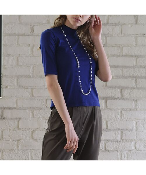 Liliane Burty ECLAT / リリアンビューティ エクラ ニット・セーター | 無地半袖セーター(ブルー)