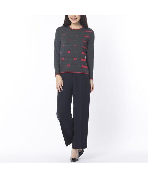 Liliane Burty ECLAT / リリアンビューティ エクラ ニット・セーター | 配色使いデザインプルオーバー | 詳細1