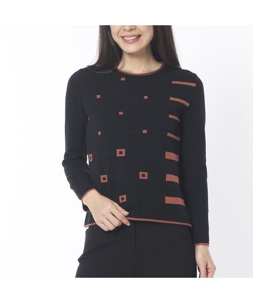 Liliane Burty ECLAT / リリアンビューティ エクラ ニット・セーター | 配色使いデザインプルオーバー(ブラック)