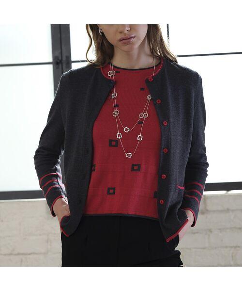 Liliane Burty ECLAT / リリアンビューティ エクラ ニット・セーター | 配色使いデザインプルオーバー | 詳細9
