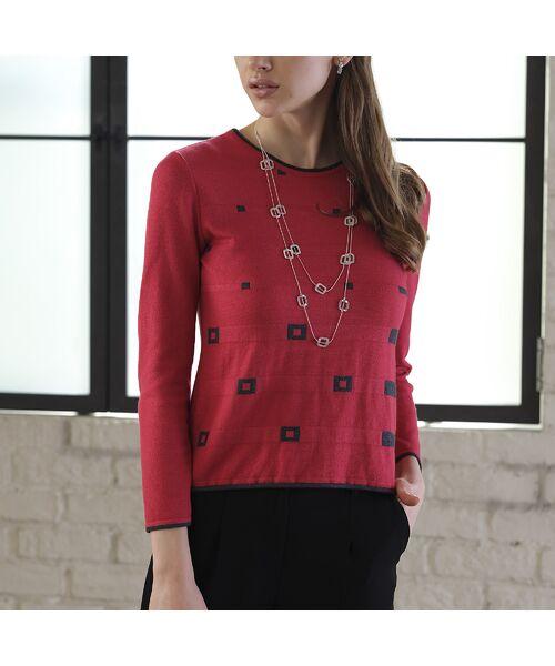 Liliane Burty ECLAT / リリアンビューティ エクラ ニット・セーター | 配色使いデザインプルオーバー(レッド)