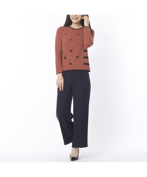 Liliane Burty ECLAT / リリアンビューティ エクラ ニット・セーター | 配色使いデザインプルオーバー | 詳細15