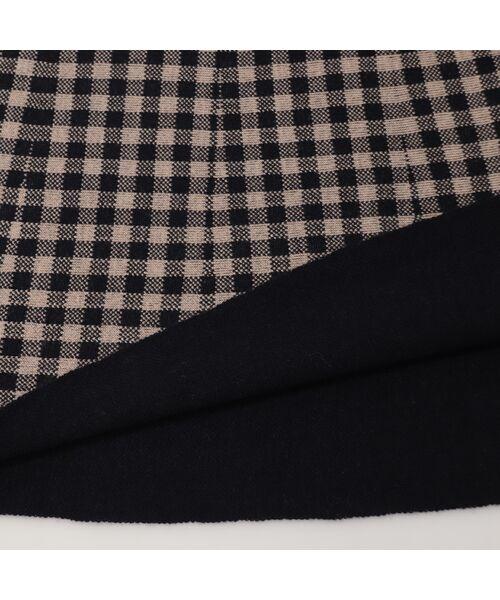 Liliane Burty ECLAT / リリアンビューティ エクラ ミニ・ひざ丈スカート | ブロックチェックと無地のリバーシブルニットスカート | 詳細3