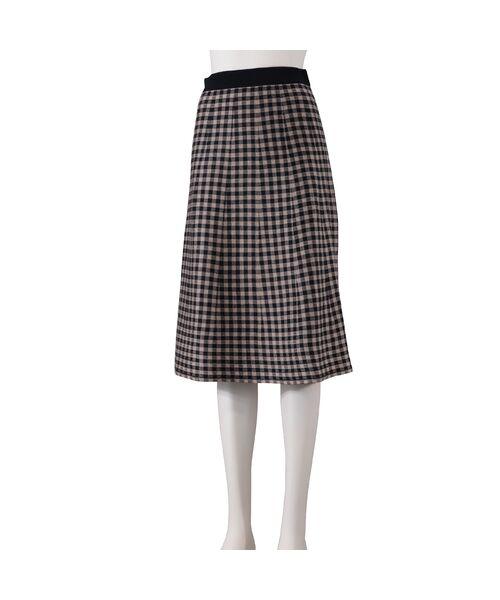 Liliane Burty ECLAT / リリアンビューティ エクラ ミニ・ひざ丈スカート | ブロックチェックと無地のリバーシブルニットスカート(ダークブルー)