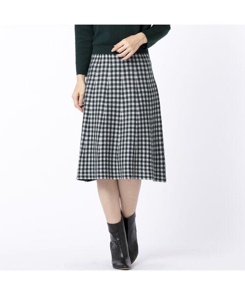 Liliane Burty ECLAT / リリアンビューティ エクラ ミニ・ひざ丈スカート | ブロックチェックと無地のリバーシブルニットスカート(グリーン)
