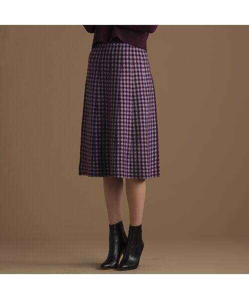 Liliane Burty ECLAT / リリアンビューティ エクラ ミニ・ひざ丈スカート | ブロックチェックと無地のリバーシブルニットスカート(バイオレット)
