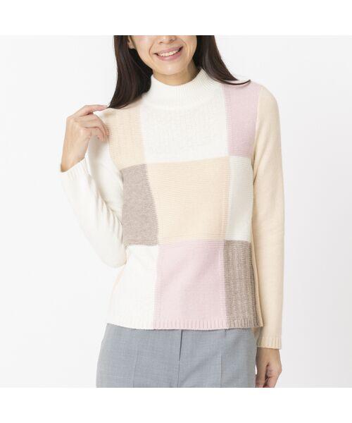 Liliane Burty ECLAT / リリアンビューティ エクラ ニット・セーター   ブロックチェックプルオーバーニット(ピンク)
