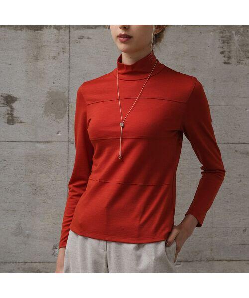 Liliane Burty ECLAT / リリアンビューティ エクラ カットソー   ウォッシャブルウール ハイネックTシャツ(オレンジ)