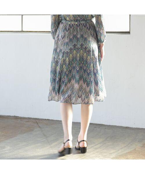 Liliane Burty ECLAT / リリアンビューティ エクラ ミニ・ひざ丈スカート | イタリア製カットジャカード スカート【セットアップ可】 | 詳細6