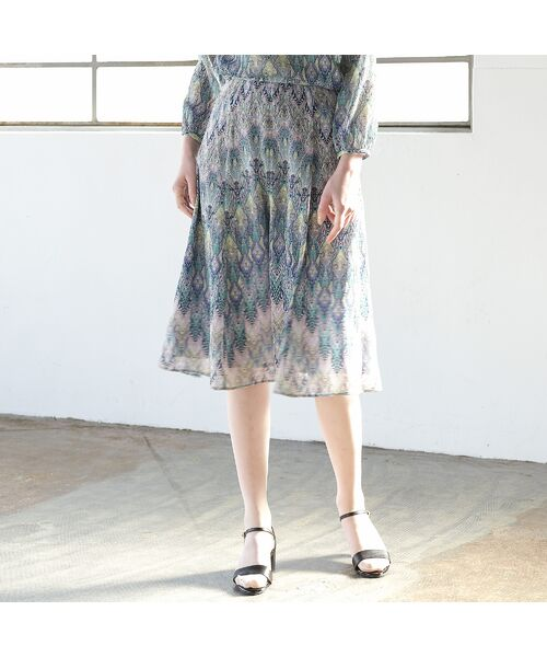 Liliane Burty ECLAT / リリアンビューティ エクラ ミニ・ひざ丈スカート | イタリア製カットジャカード スカート【セットアップ可】(ライトブルー)