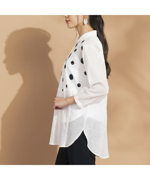Liliane Burty ECLAT / リリアンビューティ エクラ シャツ・ブラウス | 綿麻ワッシャー 刺繍配色ブラウス | 詳細3