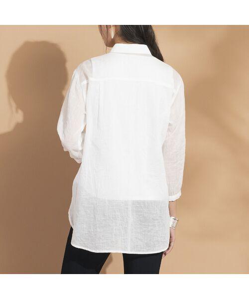 Liliane Burty ECLAT / リリアンビューティ エクラ シャツ・ブラウス | 綿麻ワッシャー 刺繍配色ブラウス | 詳細4