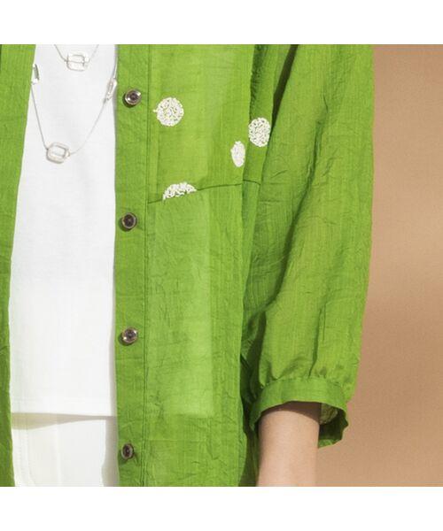 Liliane Burty ECLAT / リリアンビューティ エクラ シャツ・ブラウス | 綿麻ワッシャー 刺繍配色ブラウス | 詳細17