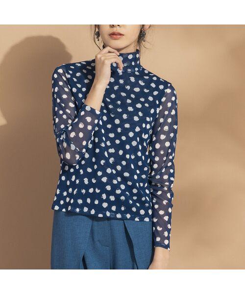 Liliane Burty ECLAT / リリアンビューティ エクラ カットソー   ドットチュール ハイネックTシャツ【セットアップ可】(ブルー)