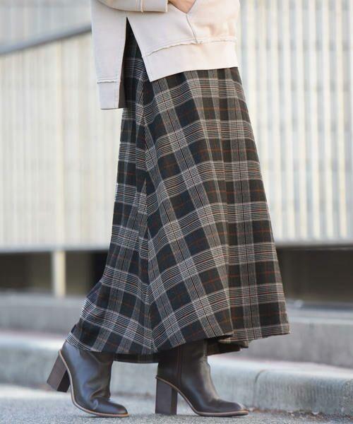 大判のチェック柄ロング丈フレアスカートが登場!深みカラーや起毛感で季節感たっぷり♪