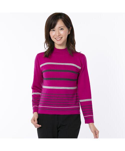LOBJIE / ロブジェ ニット・セーター | [アンサンブル対応] ハイゲージウールのボーダーセーター(ピンク)