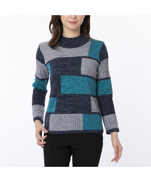 LOBJIE / ロブジェ ニット・セーター | カラーブロックのプルオーバーニット(ブルー)